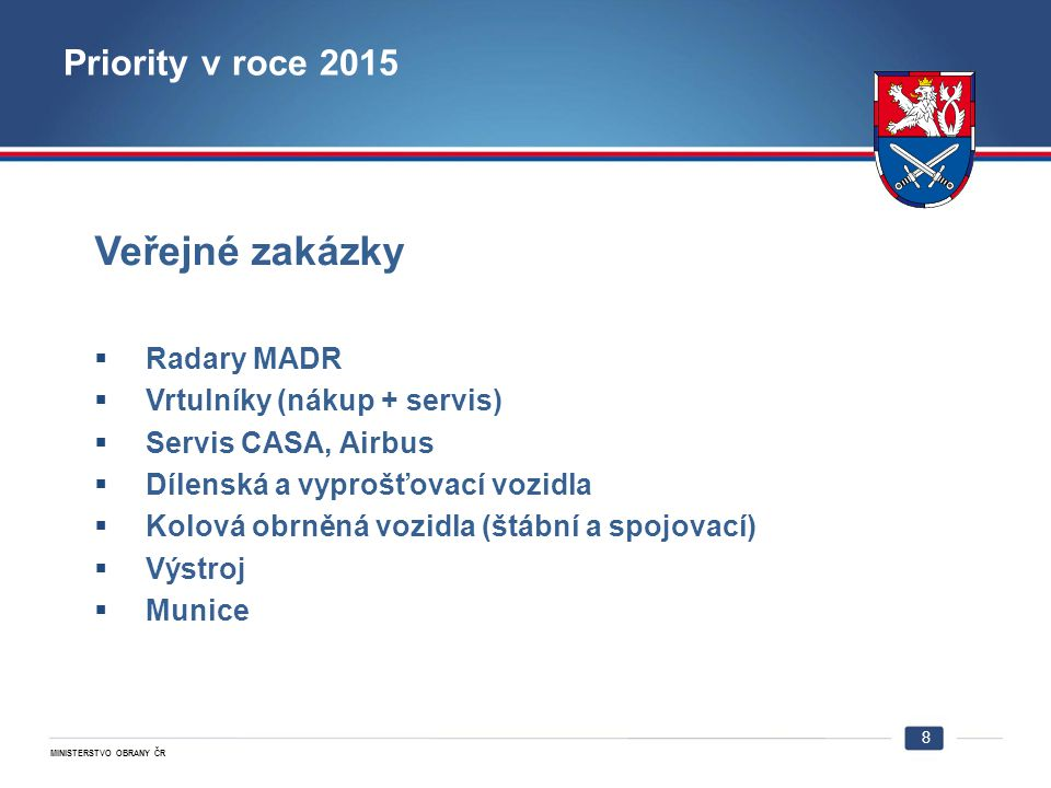 Veřejné zakázky Priority v roce 2015 Radary MADR