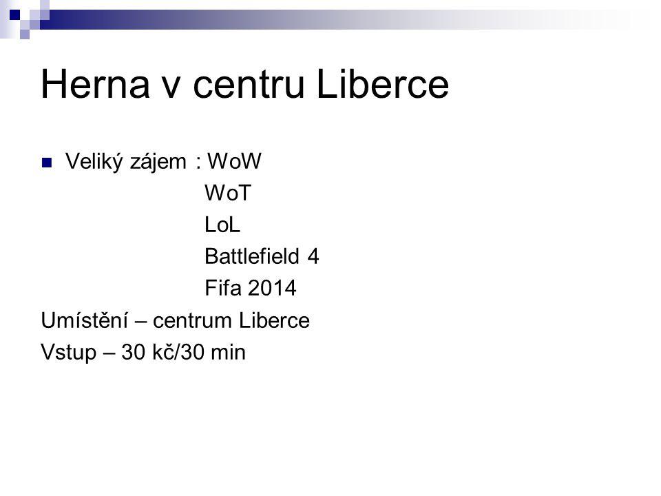 Herna v centru Liberce Veliký zájem : WoW WoT LoL Battlefield 4