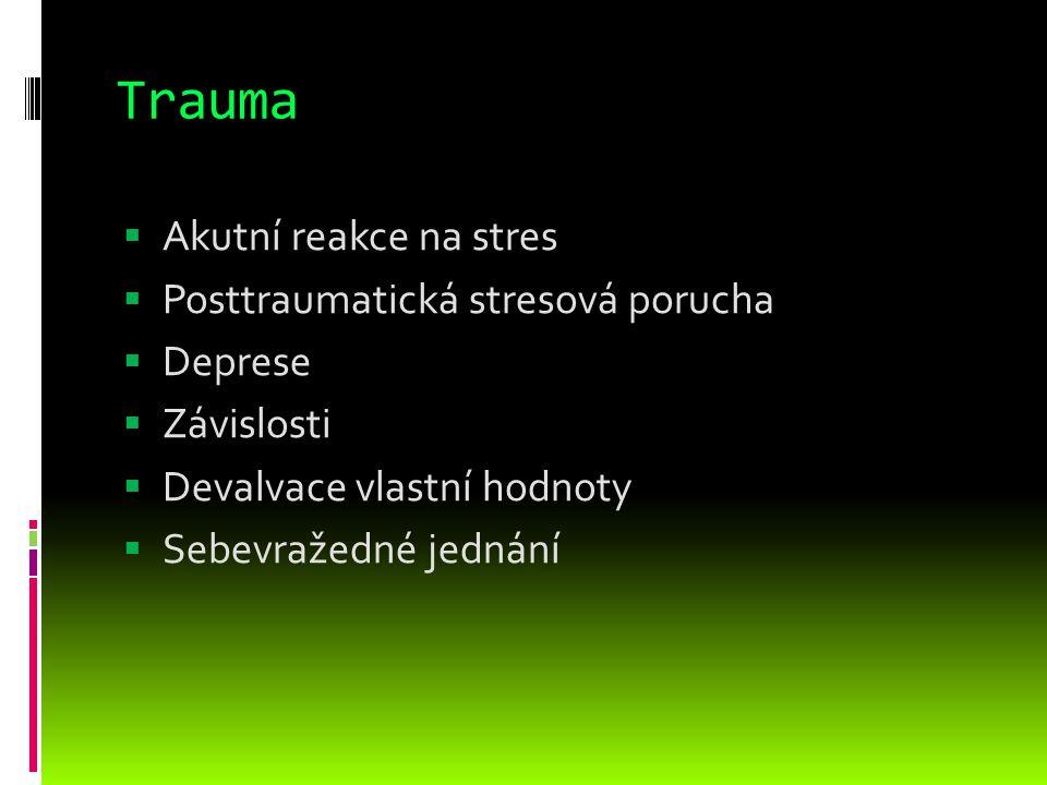 Trauma Akutní reakce na stres Posttraumatická stresová porucha Deprese