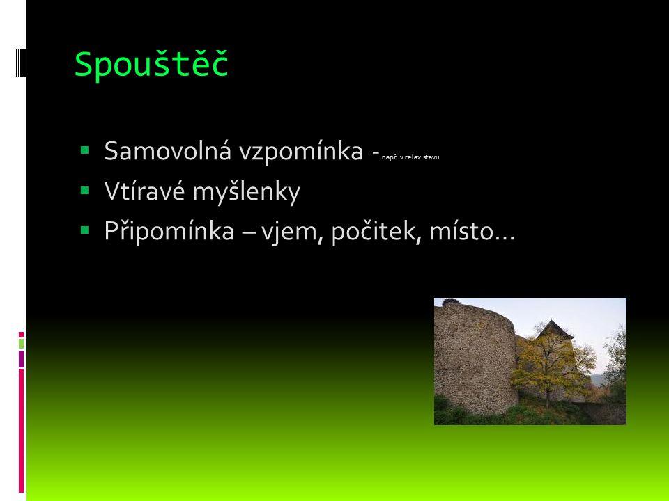 Spouštěč Samovolná vzpomínka - např. v relax.stavu Vtíravé myšlenky