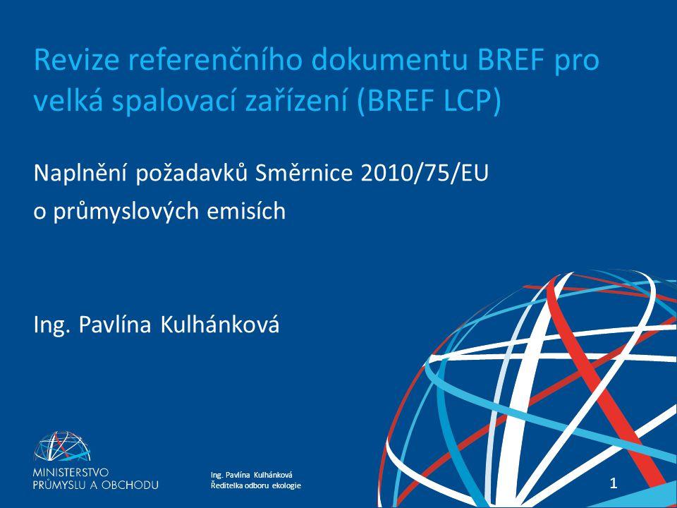 Revize referenčního dokumentu BREF pro velká spalovací zařízení (BREF LCP)