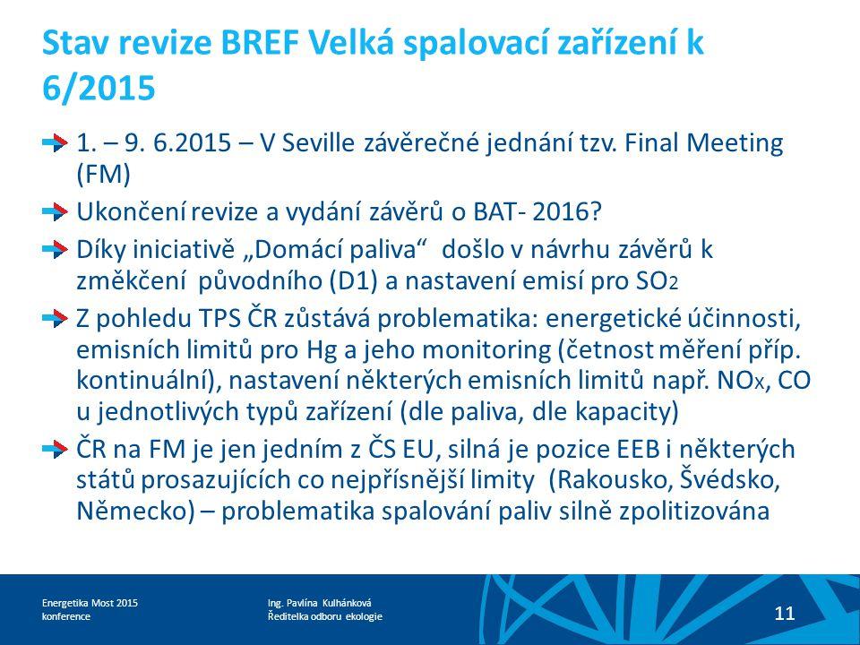 Stav revize BREF Velká spalovací zařízení k 6/2015