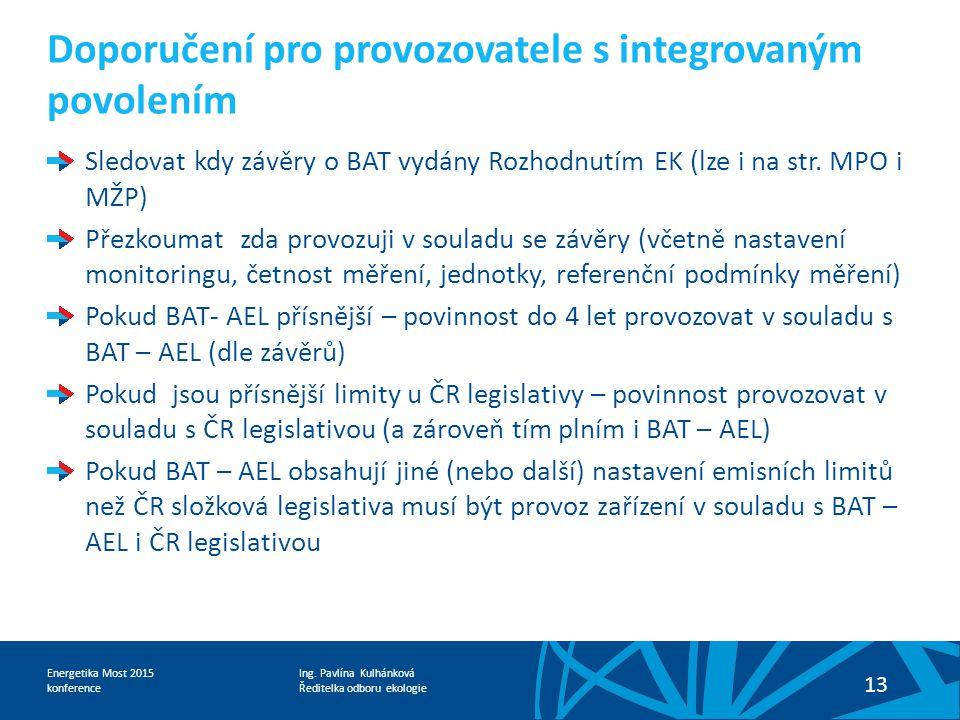 Doporučení pro provozovatele s integrovaným povolením