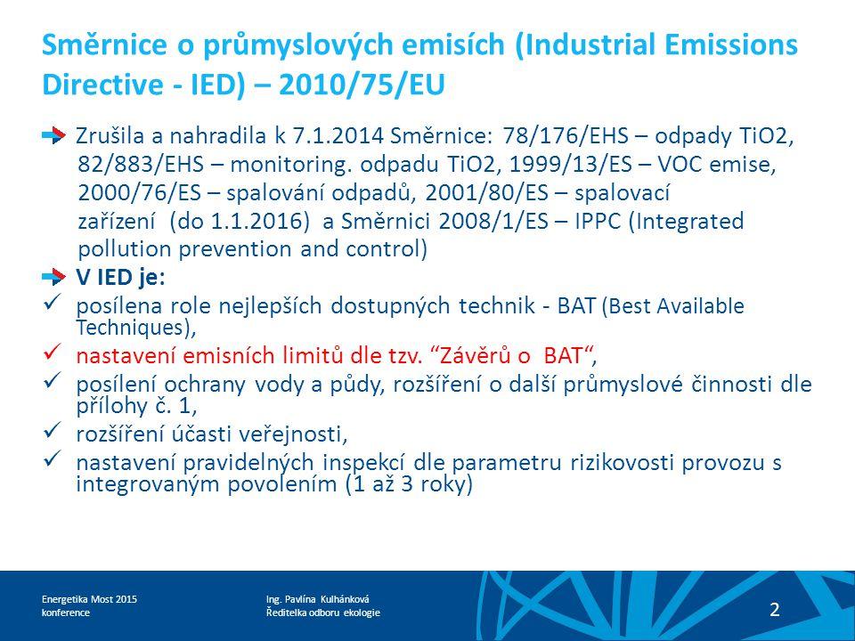 Směrnice o průmyslových emisích (Industrial Emissions Directive - IED) – 2010/75/EU