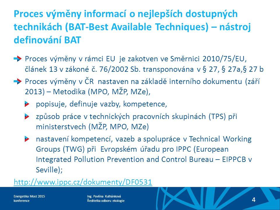 Proces výměny informací o nejlepších dostupných technikách (BAT-Best Available Techniques) – nástroj definování BAT