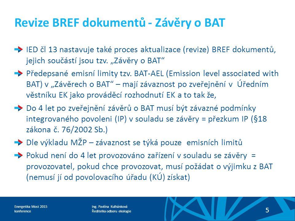 Revize BREF dokumentů - Závěry o BAT