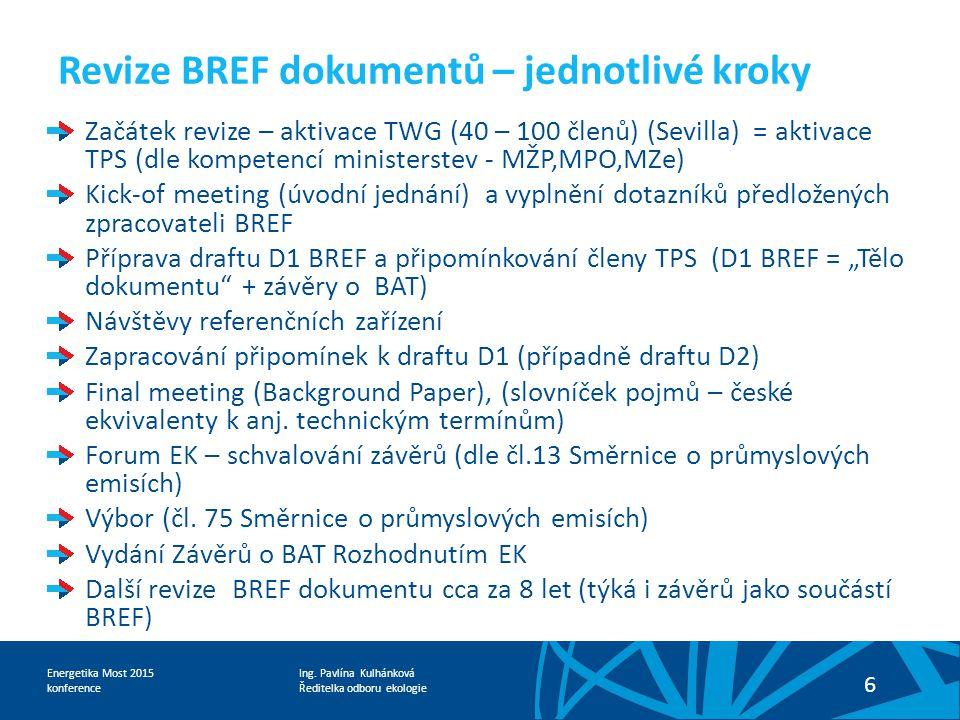 Revize BREF dokumentů – jednotlivé kroky