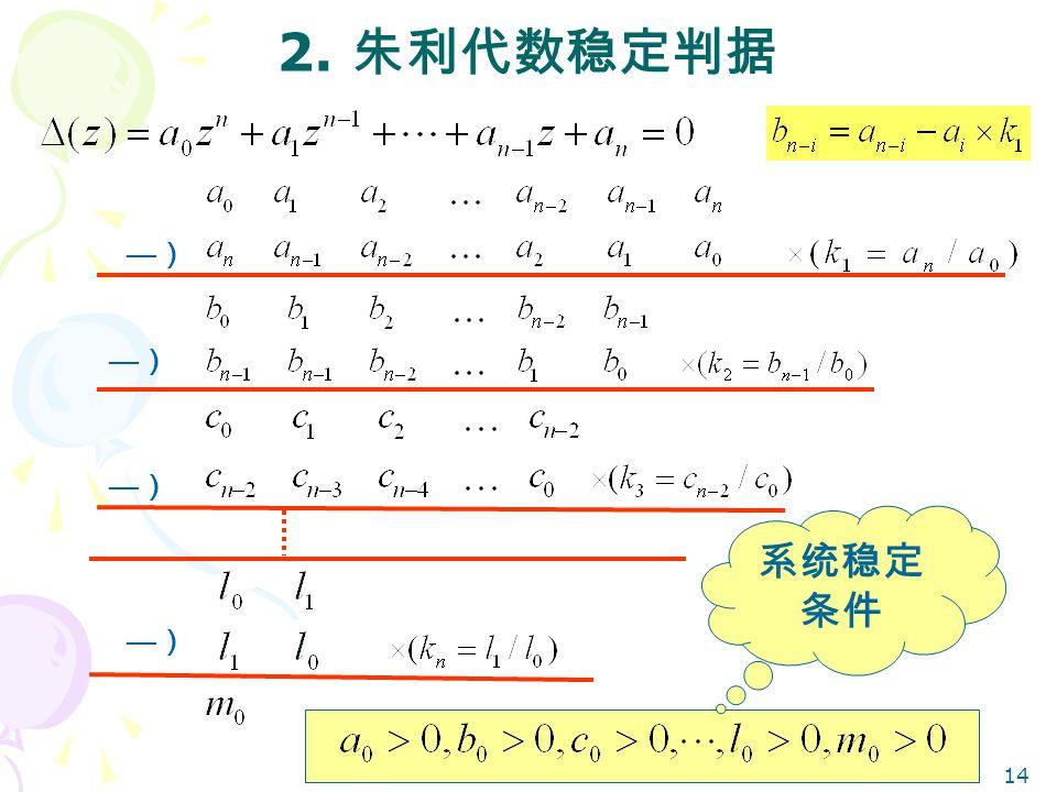 2. 朱利代数稳定判据 —) —) —) 系统稳定条件 —)