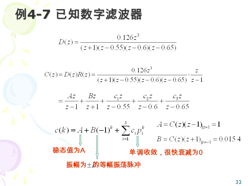 例4-7 已知数字滤波器 稳态值为A 单调收敛,很快衰减为0 振幅为 的等幅振荡脉冲