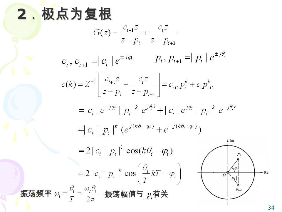 2.极点为复根 振荡频率: 振荡幅值与 有关