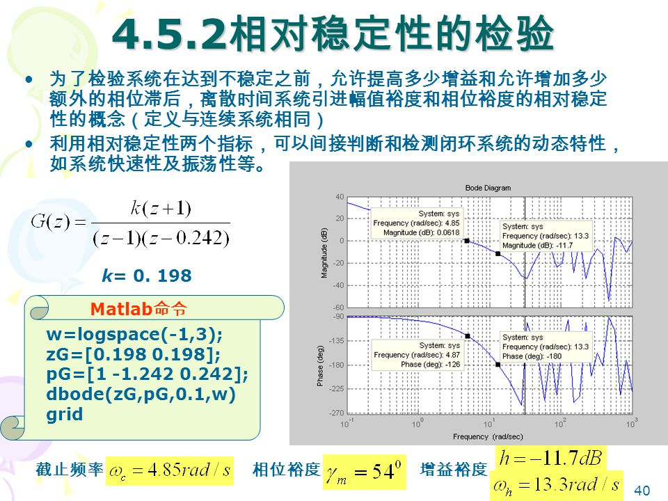 4.5.2相对稳定性的检验 为了检验系统在达到不稳定之前,允许提高多少增益和允许增加多少额外的相位滞后,离散时间系统引进幅值裕度和相位裕度的相对稳定性的概念(定义与连续系统相同) 利用相对稳定性两个指标,可以间接判断和检测闭环系统的动态特性,如系统快速性及振荡性等。