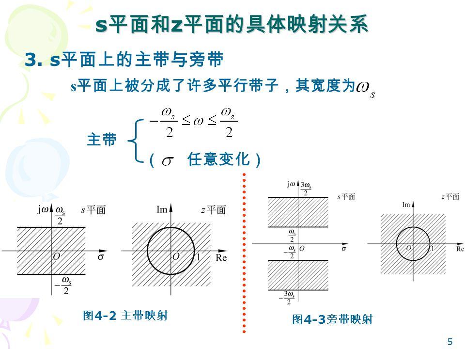 s平面和z平面的具体映射关系 3. s平面上的主带与旁带 s平面上被分成了许多平行带子,其宽度为 主带 ( 任意变化) 图4-2 主带映射