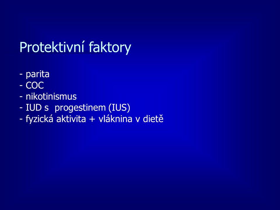 Protektivní faktory - parita - COC - nikotinismus