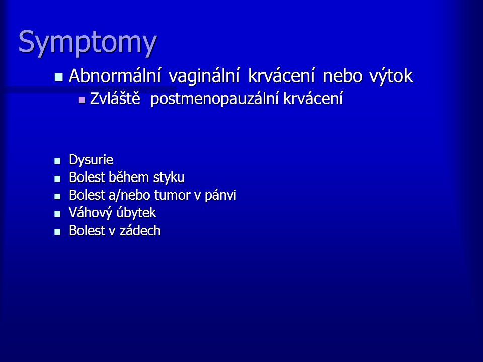 Symptomy Abnormální vaginální krvácení nebo výtok