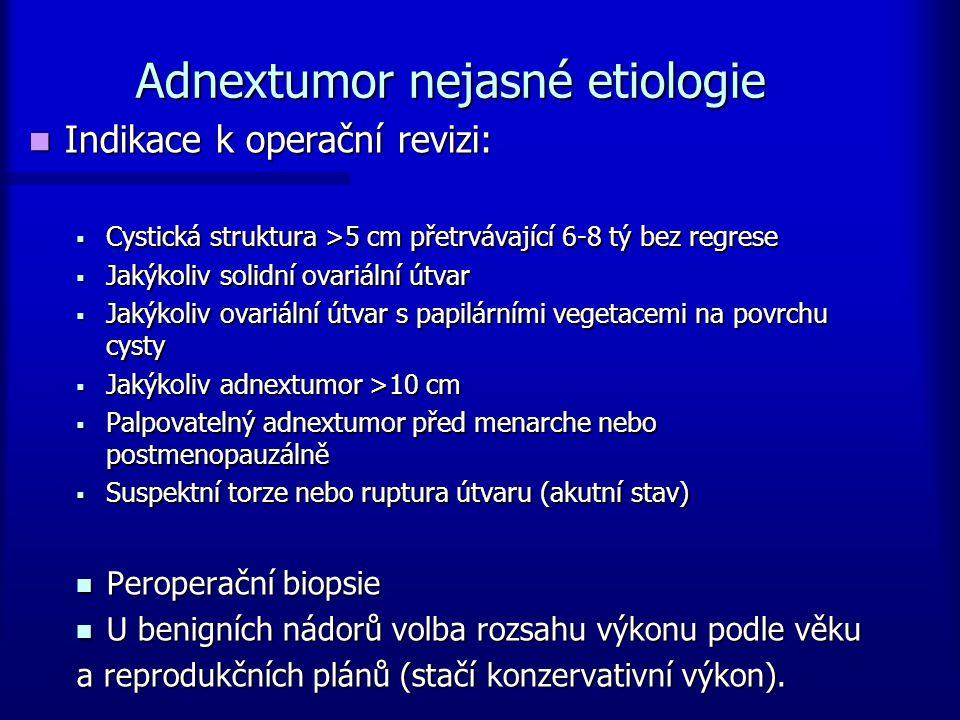 Adnextumor nejasné etiologie