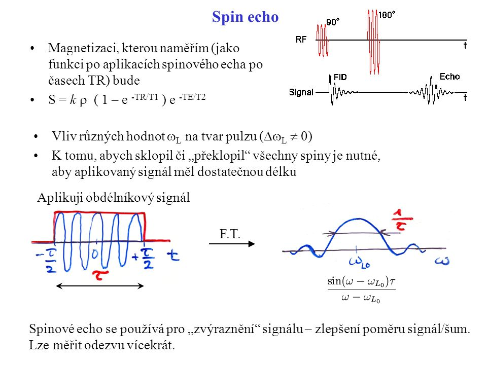 Spin echo Magnetizaci, kterou naměřím (jako funkci po aplikacích spinového echa po časech TR) bude.
