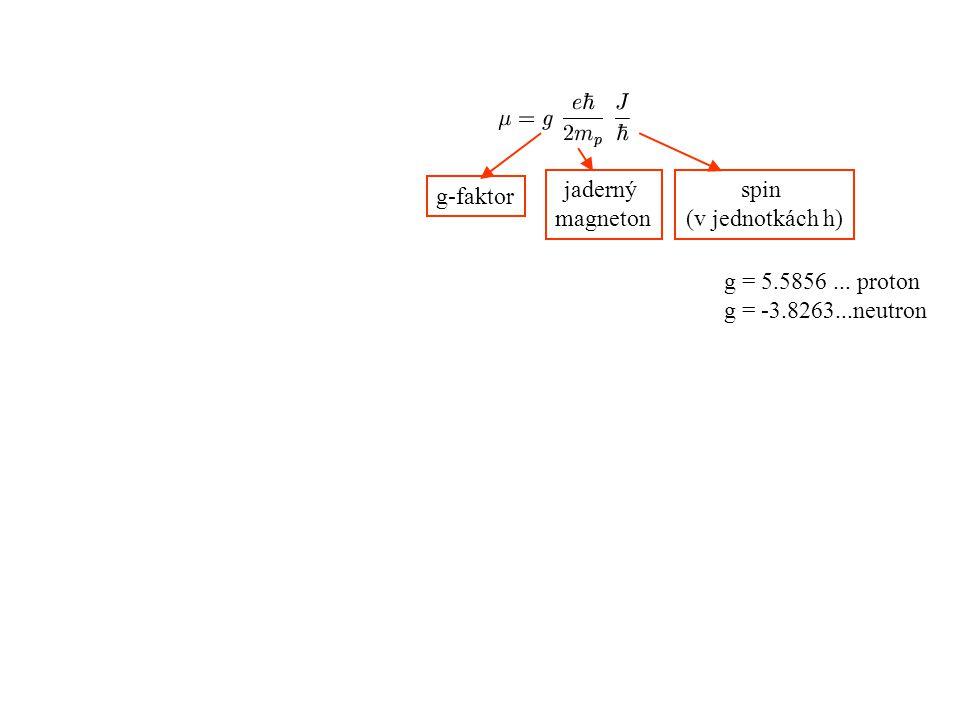 jaderný magneton spin (v jednotkách h) g-faktor g = 5.5856 ... proton g = -3.8263...neutron