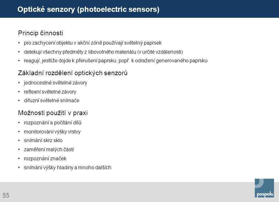 Optické senzory (photoelectric sensors)
