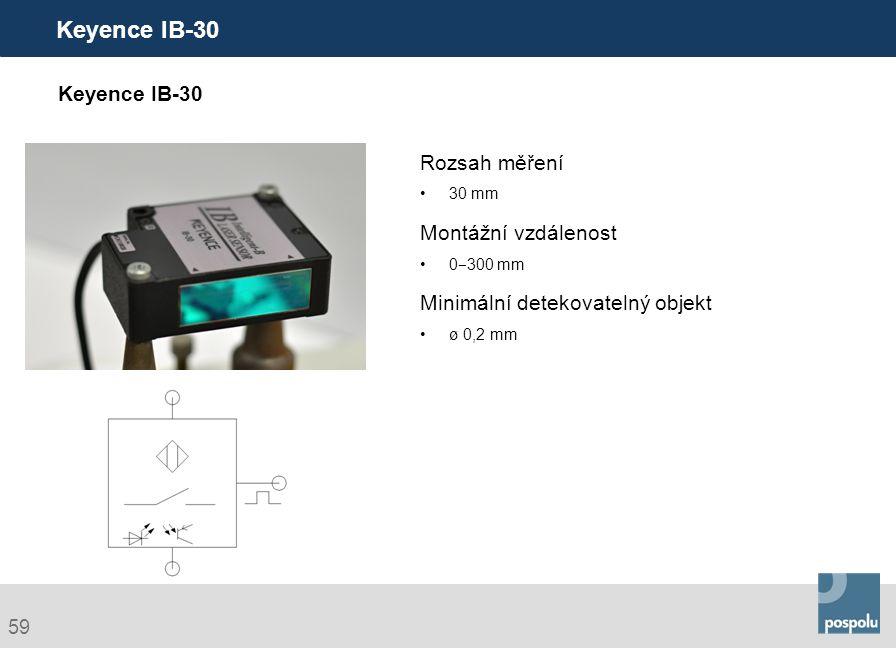Keyence IB-30 Keyence IB-30 Rozsah měření Montážní vzdálenost