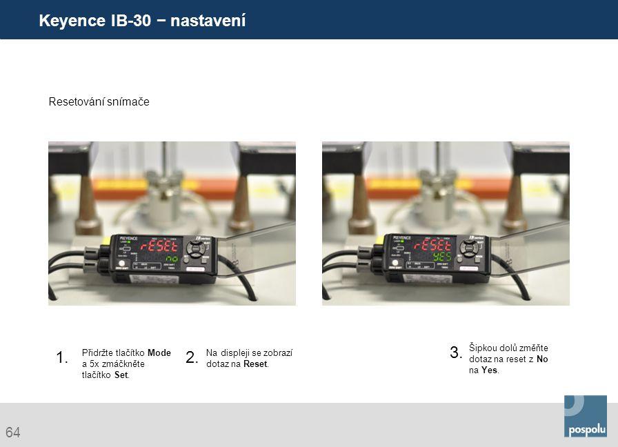 Keyence IB-30 − nastavení