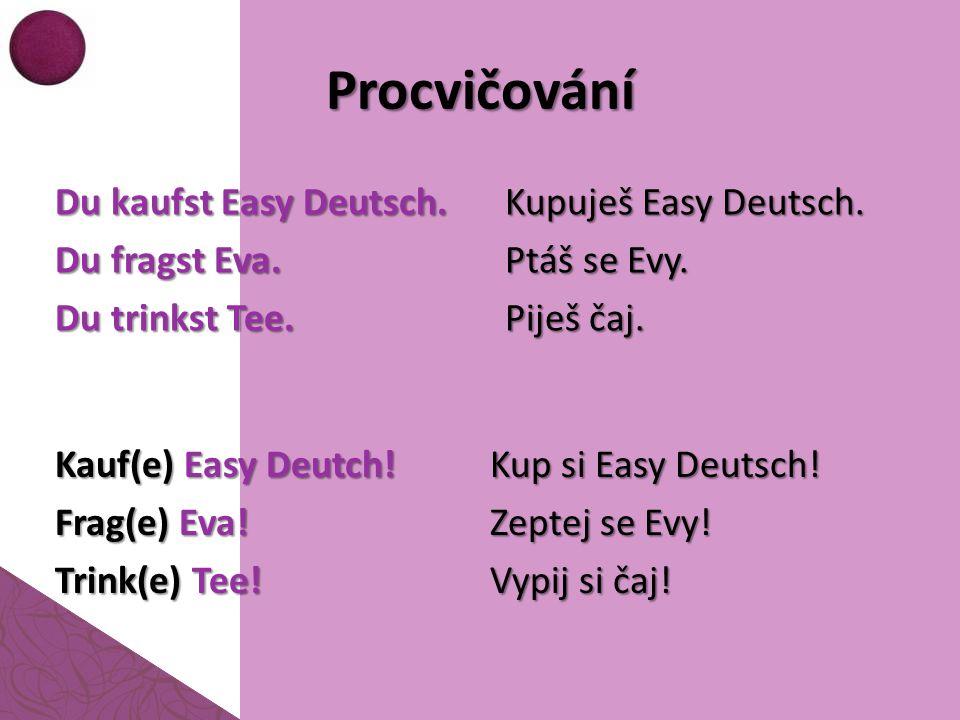 Procvičování Du kaufst Easy Deutsch. Du fragst Eva. Du trinkst Tee.