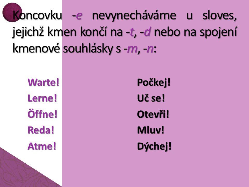 Koncovku -e nevynecháváme u sloves, jejichž kmen končí na -t, -d nebo na spojení kmenové souhlásky s -m, -n: