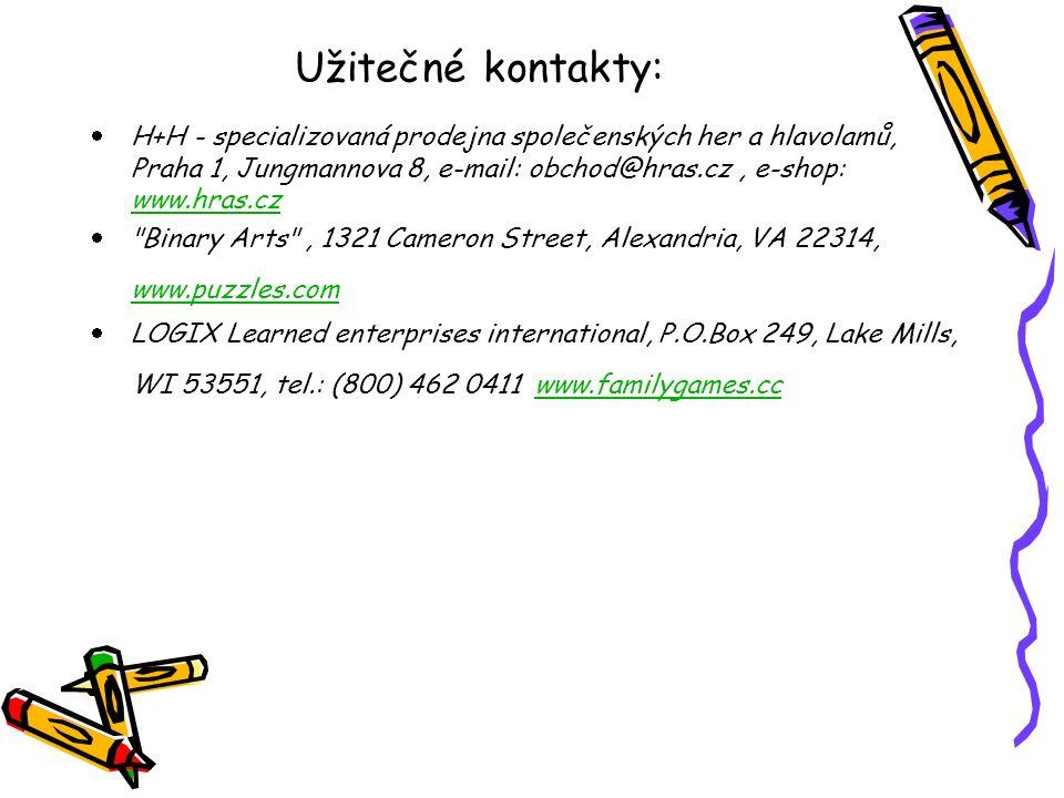 Užitečné kontakty: H+H - specializovaná prodejna společenských her a hlavolamů, Praha 1, Jungmannova 8, e-mail: obchod@hras.cz , e-shop: www.hras.cz.