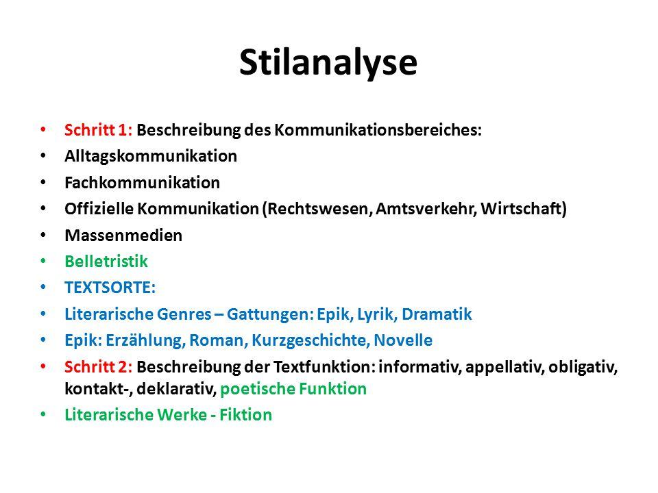 Stilanalyse Schritt 1: Beschreibung des Kommunikationsbereiches: