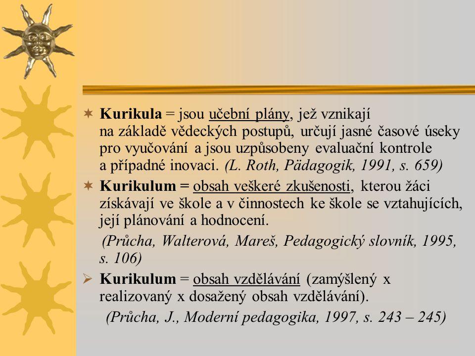 Kurikula = jsou učební plány, jež vznikají na základě vědeckých postupů, určují jasné časové úseky pro vyučování a jsou uzpůsobeny evaluační kontrole a případné inovaci. (L. Roth, Pädagogik, 1991, s. 659)