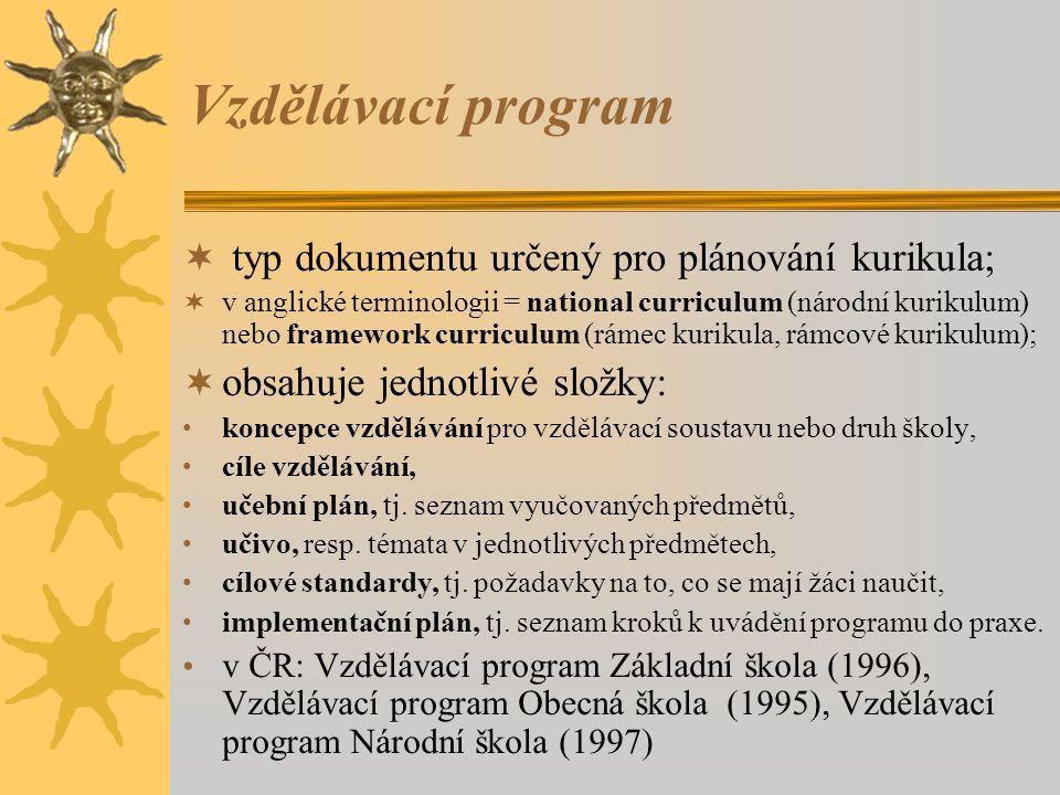 Vzdělávací program typ dokumentu určený pro plánování kurikula;