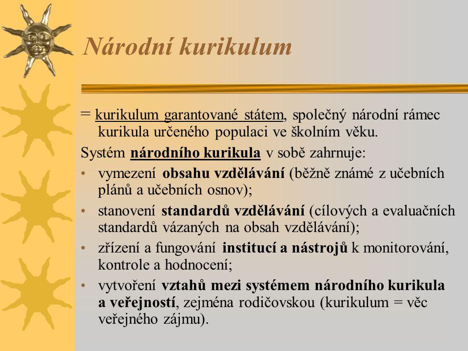Národní kurikulum = kurikulum garantované státem, společný národní rámec kurikula určeného populaci ve školním věku.