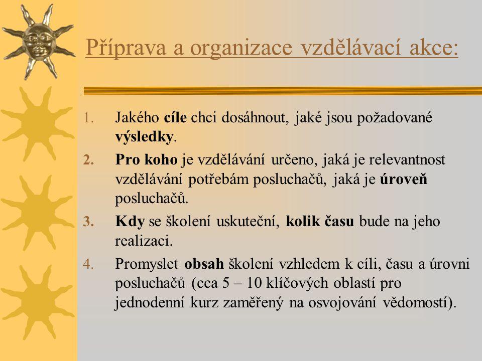 Příprava a organizace vzdělávací akce: