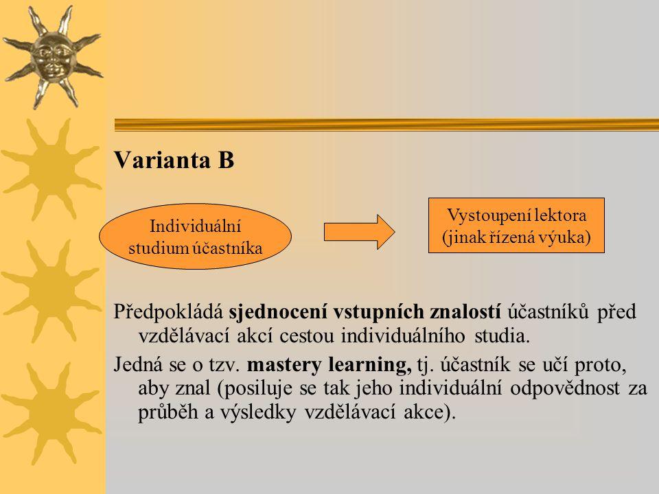 Varianta B Předpokládá sjednocení vstupních znalostí účastníků před vzdělávací akcí cestou individuálního studia.