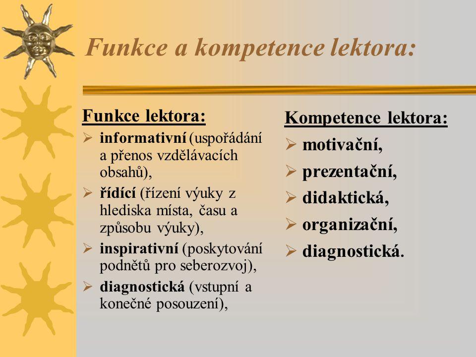Funkce a kompetence lektora: