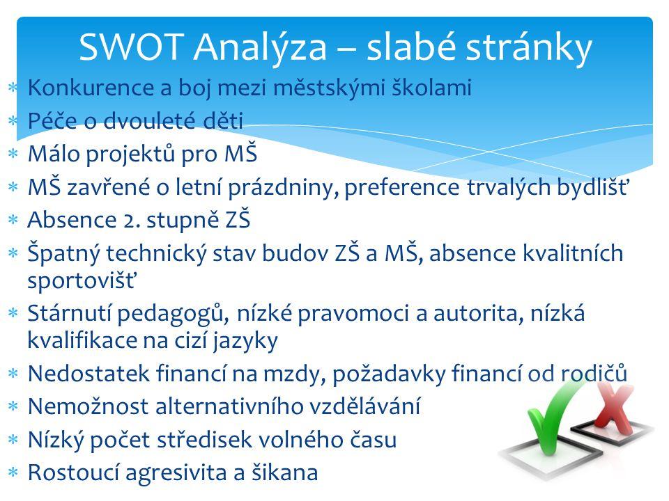 SWOT Analýza – slabé stránky