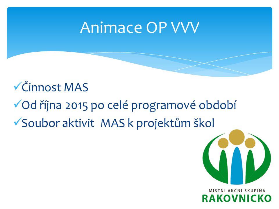 Animace OP VVV Činnost MAS Od října 2015 po celé programové období