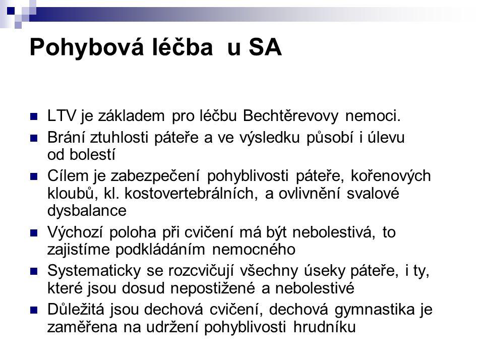 Pohybová léčba u SA LTV je základem pro léčbu Bechtěrevovy nemoci.