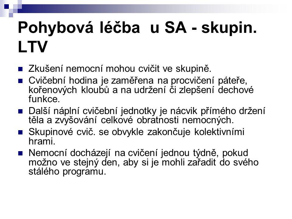 Pohybová léčba u SA - skupin. LTV