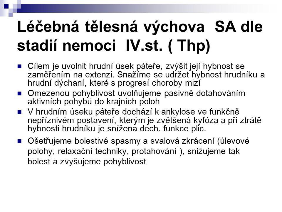 Léčebná tělesná výchova SA dle stadií nemoci IV.st. ( Thp)