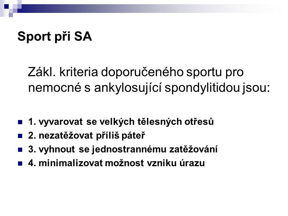 Sport při SA Zákl. kriteria doporučeného sportu pro nemocné s ankylosující spondylitidou jsou: 1. vyvarovat se velkých tělesných otřesů.