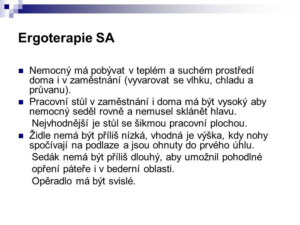 Ergoterapie SA Nemocný má pobývat v teplém a suchém prostředí doma i v zaměstnání (vyvarovat se vlhku, chladu a průvanu).
