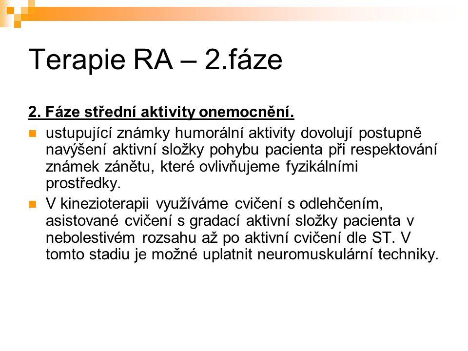 Terapie RA – 2.fáze 2. Fáze střední aktivity onemocnění.