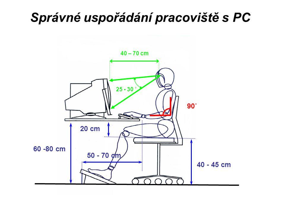 Správné uspořádání pracoviště s PC