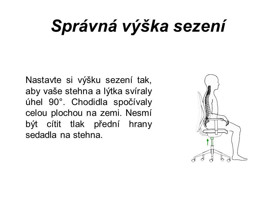 Správná výška sezení