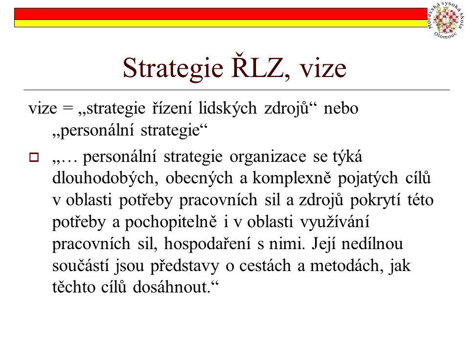 """Strategie ŘLZ, vize vize = """"strategie řízení lidských zdrojů nebo """"personální strategie"""
