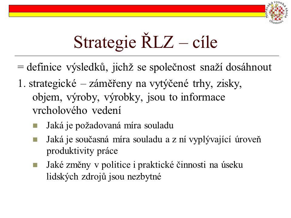 Strategie ŘLZ – cíle = definice výsledků, jichž se společnost snaží dosáhnout.