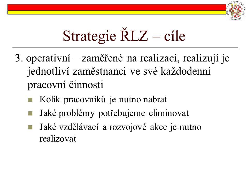 Strategie ŘLZ – cíle 3. operativní – zaměřené na realizaci, realizují je jednotliví zaměstnanci ve své každodenní pracovní činnosti.