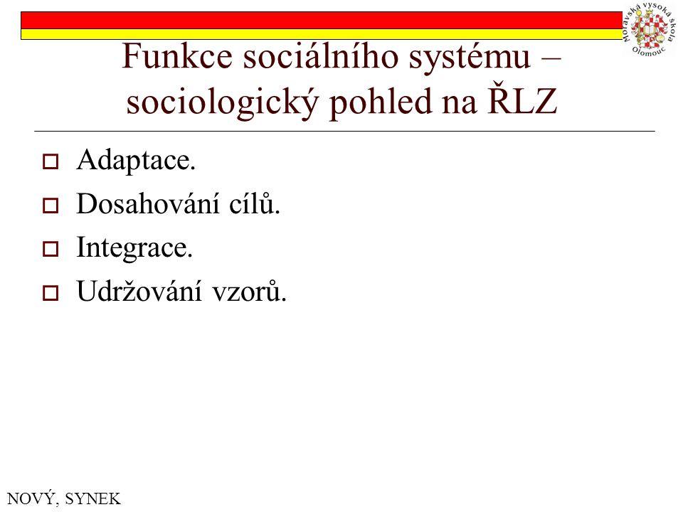 Funkce sociálního systému – sociologický pohled na ŘLZ