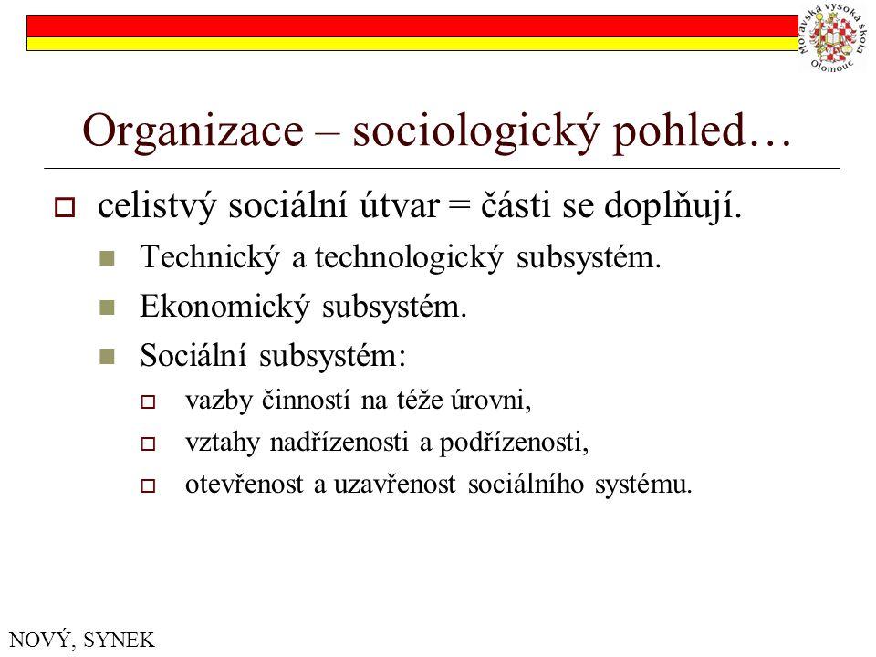 Organizace – sociologický pohled…