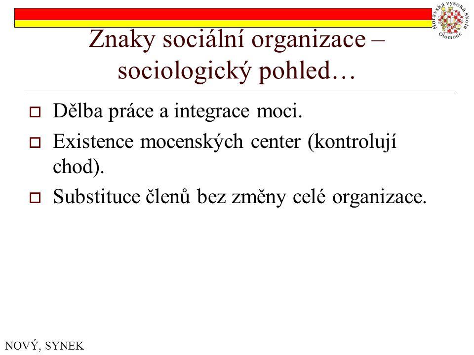 Znaky sociální organizace – sociologický pohled…